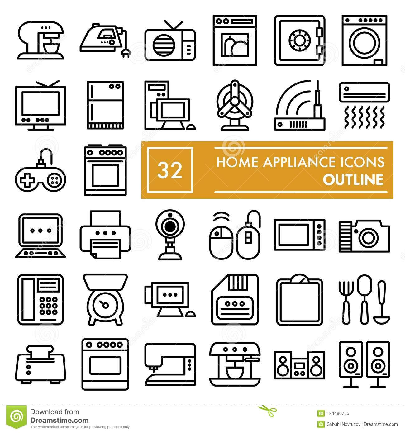Home Appliance Line Icon Set Household Symbols Collection Vector