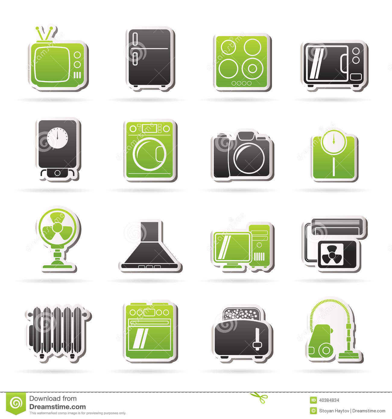 Home Electronics Appliances Thin Line Icons Set With Tv