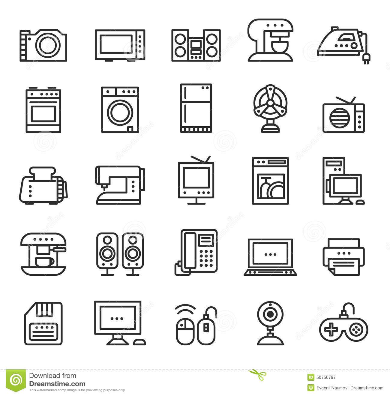 Line Art Icons : Home appliances and equipment icons vector modern stock