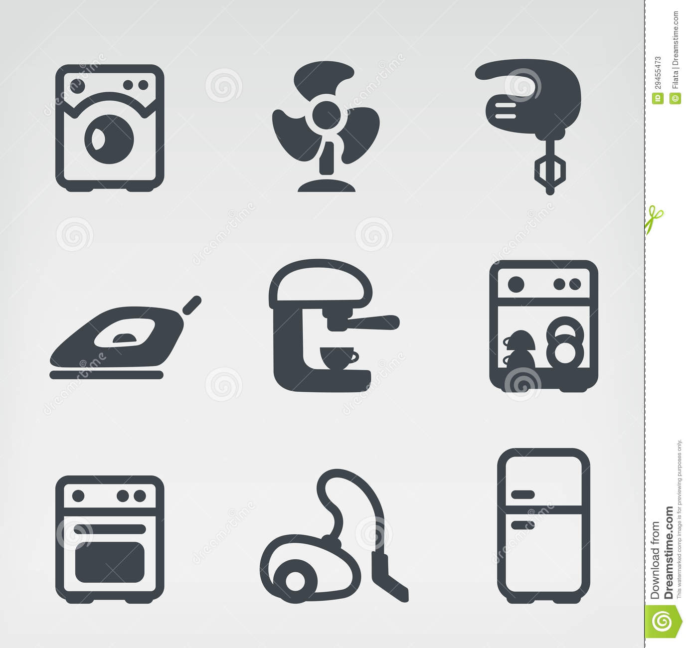 Home appliances icon set stock vector. Image of kitchen