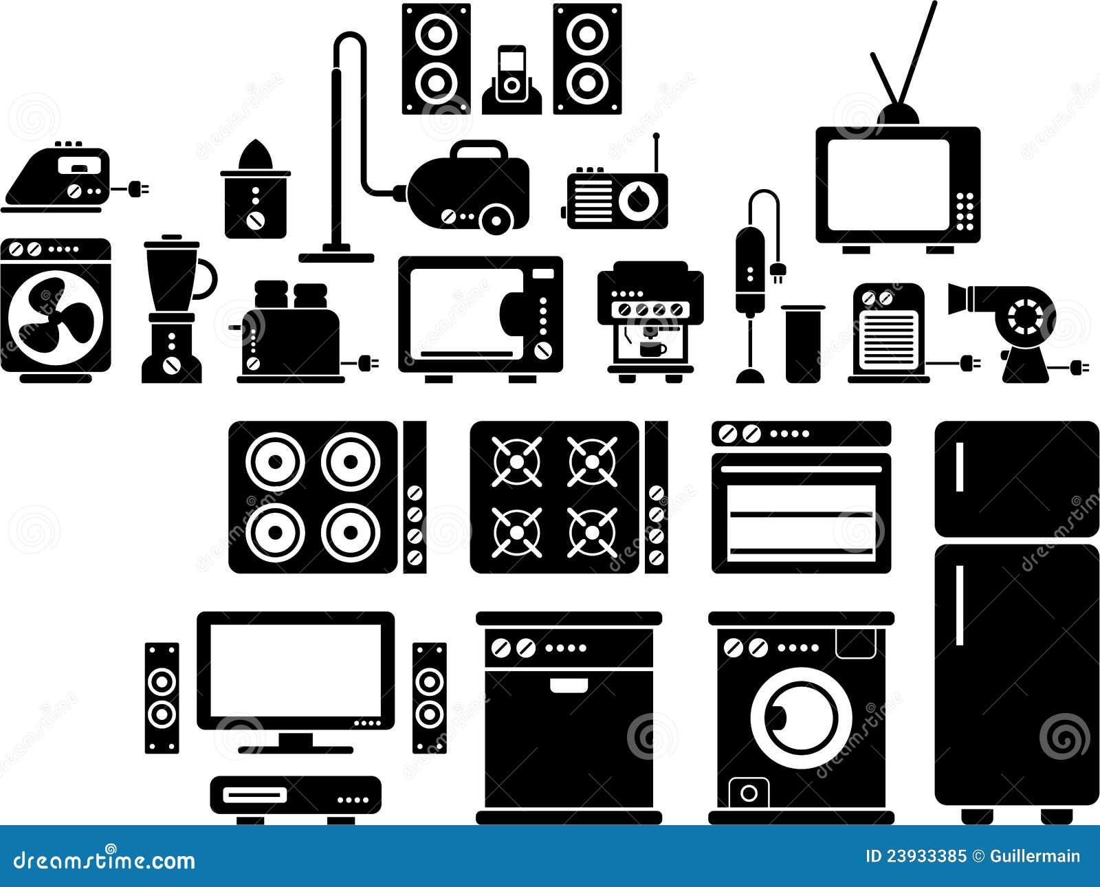 Kitchen Appliances Blogs Home Appliances Icons Royalty Free Stock Photo Image