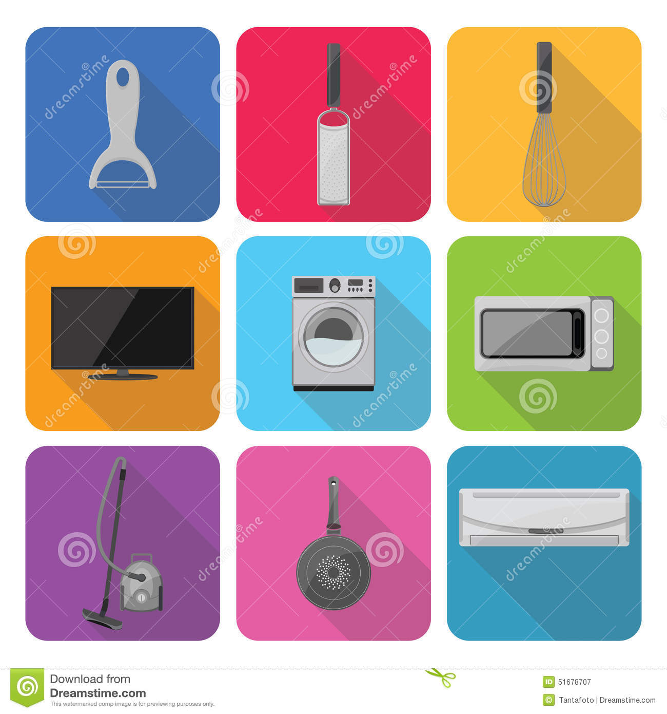 Icons in a flat style of home appliances vector for Household appliances design