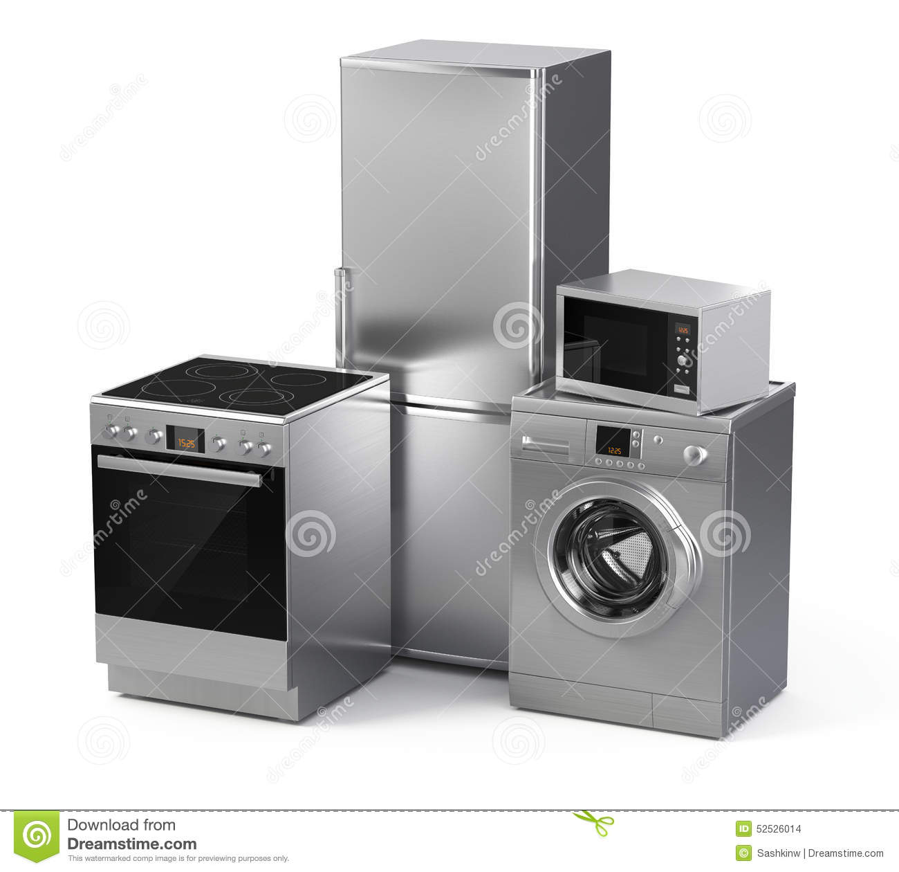 home appliances refrigerator washing machine electric stove and microwave stock illustration. Black Bedroom Furniture Sets. Home Design Ideas