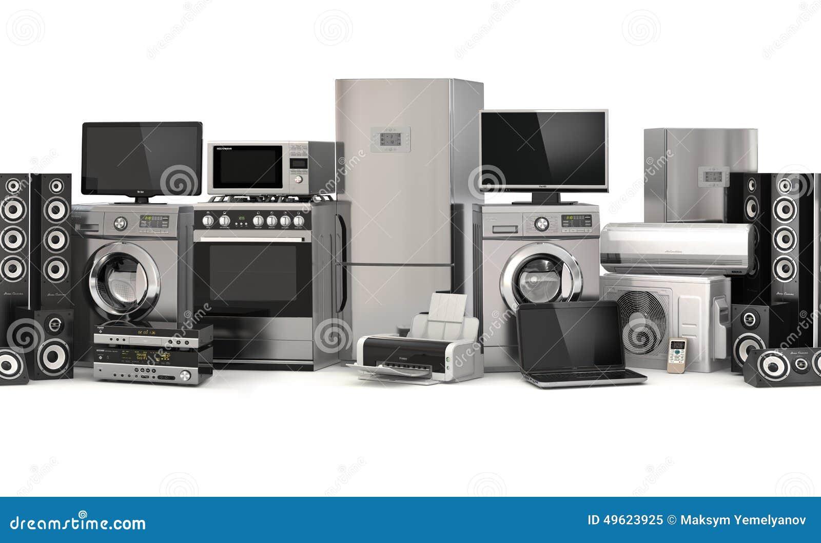 Home Appliances. Seamless Pattern. Cooker, Tv Cinema ...