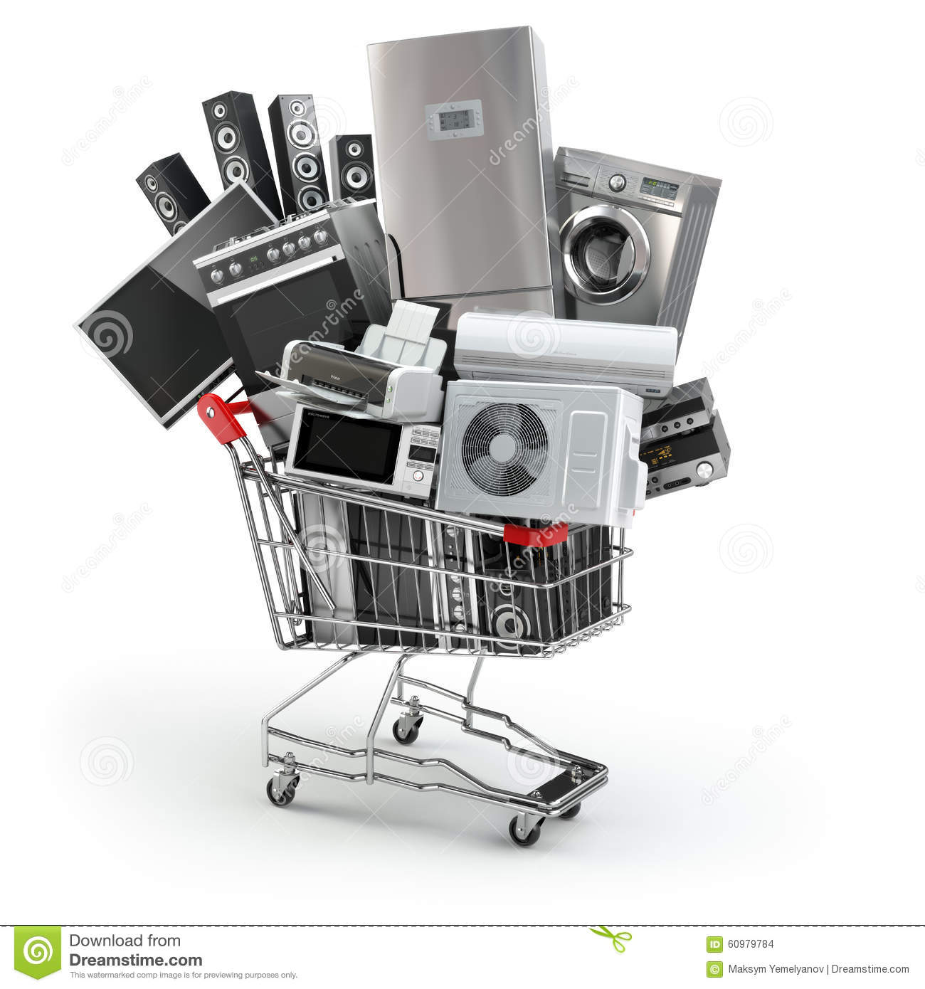 Household Stores: Home Appliances In The Shopping Cart. E-commerce Or Online