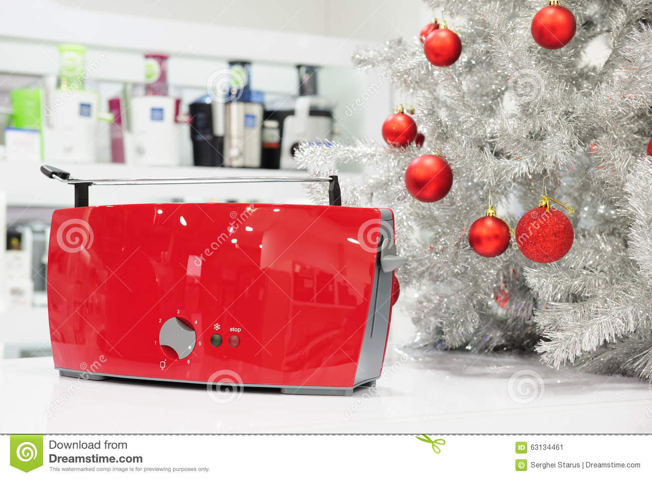 Home appliances store at christmas stock photo image