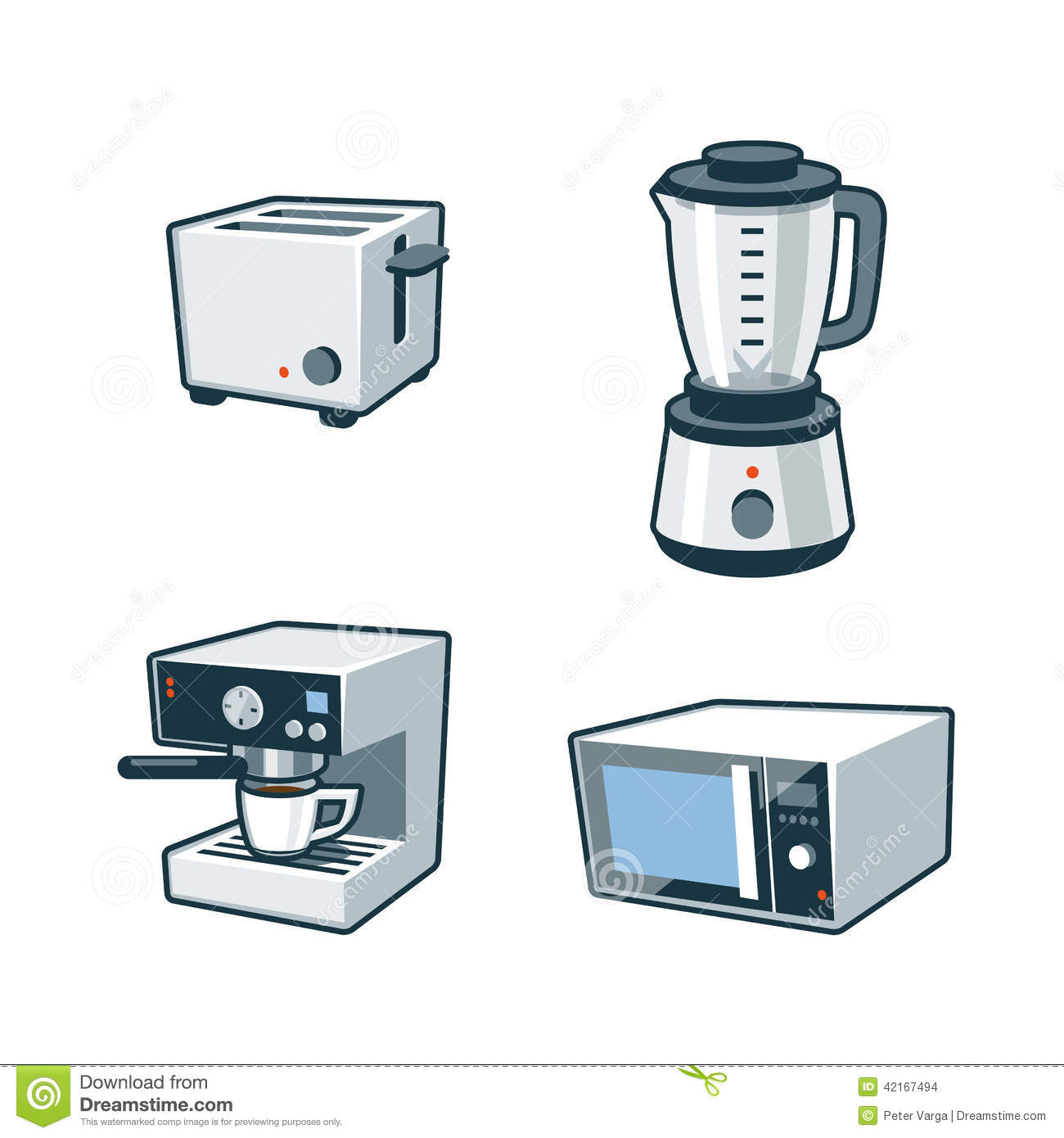 Set of four cartoon vector icons of a toaster blender coffee maker