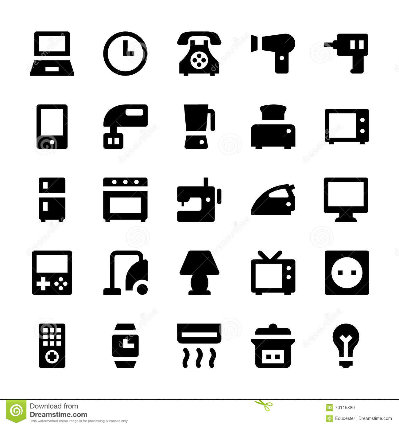 home appliances vector icons 1 stock illustration