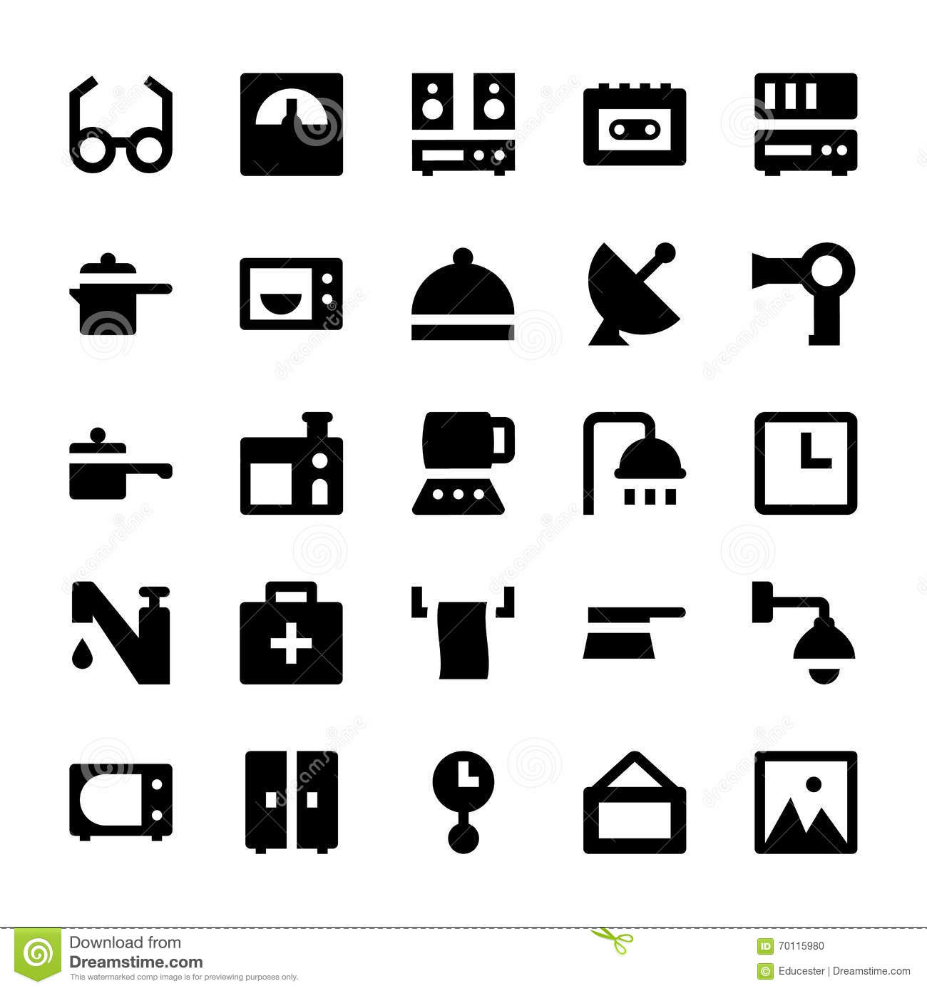 Home Appliances Vector Icons 4 Stock Illustration Image