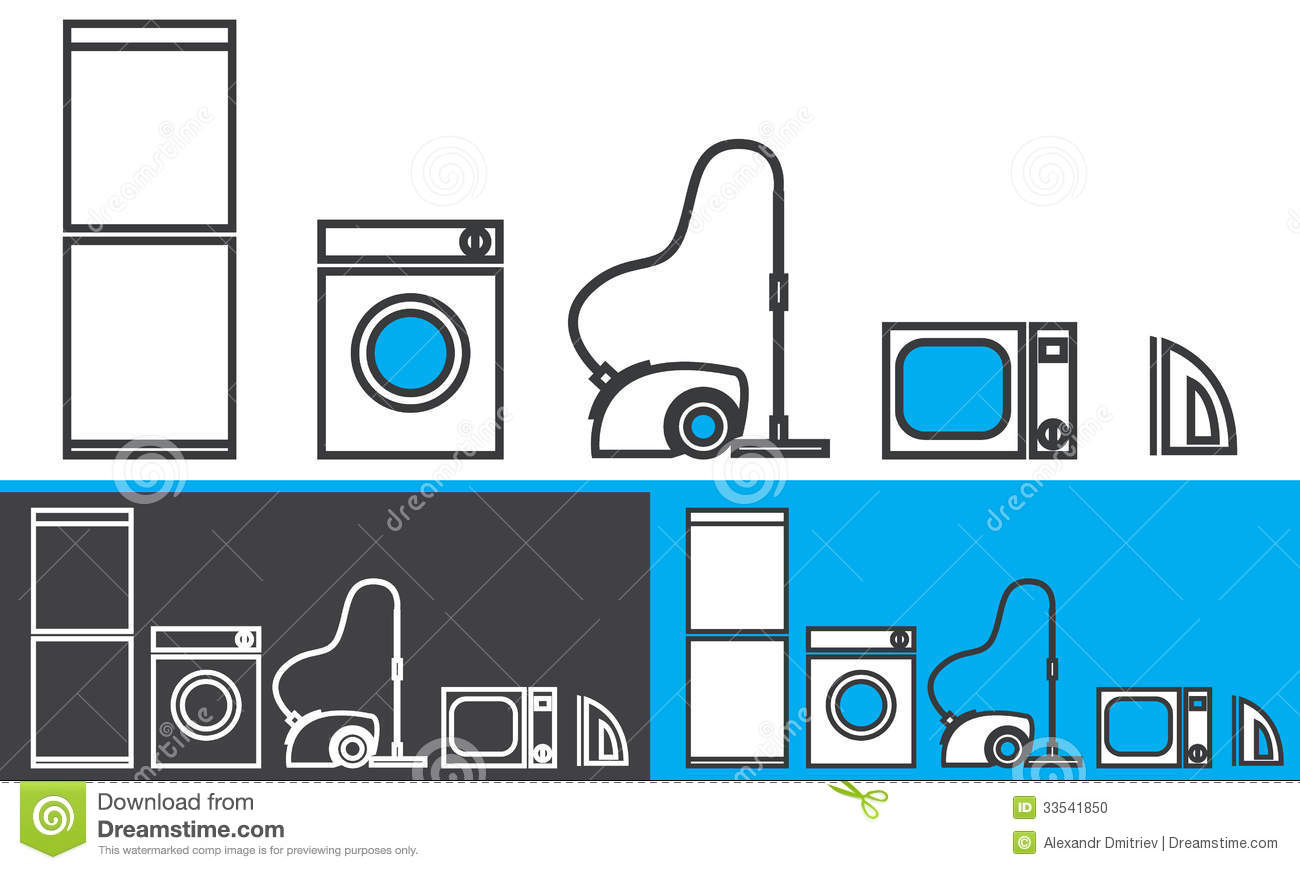 Home appliances vector icons vector illustration for Household appliances design