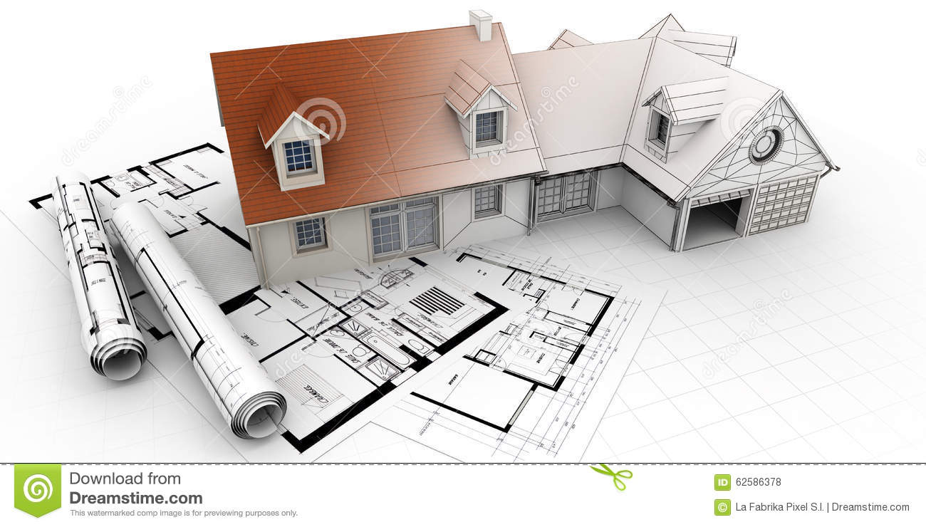 Home architecture project completion stock illustration for Architecte 3d plan maison architecture