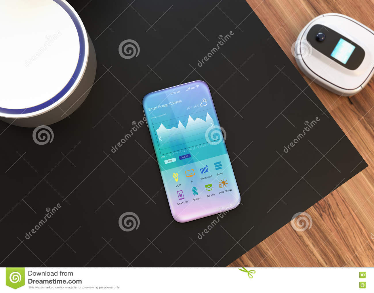 Smartphone Home Control home automation controlsmart phone stock illustration - image