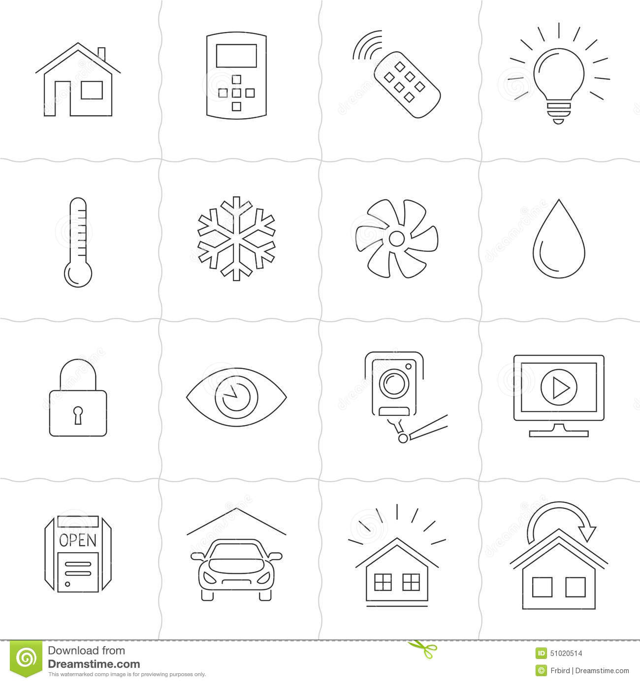 smart home system icon set outline style royalty free cliparts
