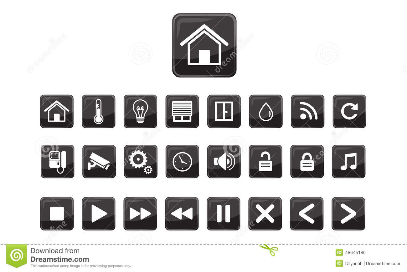 home automation smart home icon set stock vector image 48645180. Black Bedroom Furniture Sets. Home Design Ideas