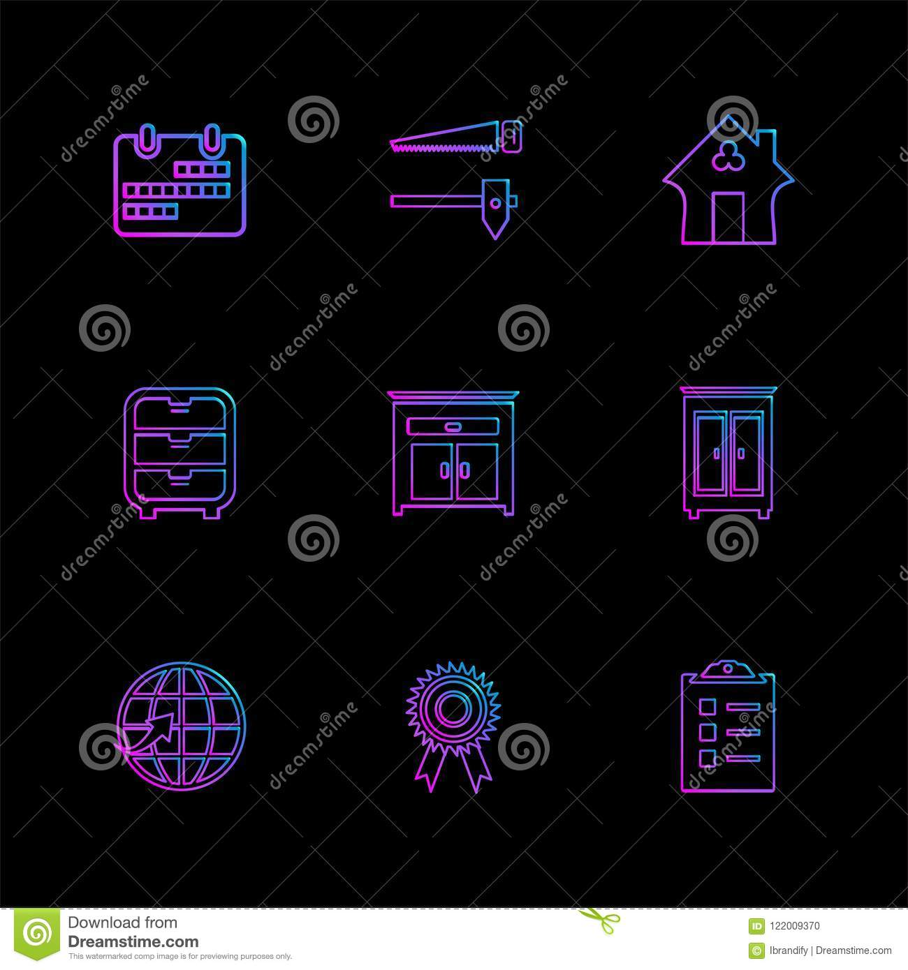 creative furniture icons set flat design. Home , Awards Furniture House Hold Positions Saw Bed Medal  Coutch Lamp Globe Icon, Vector, Design, Flat, Collection, Style, Creative, Creative Icons Set Flat Design S