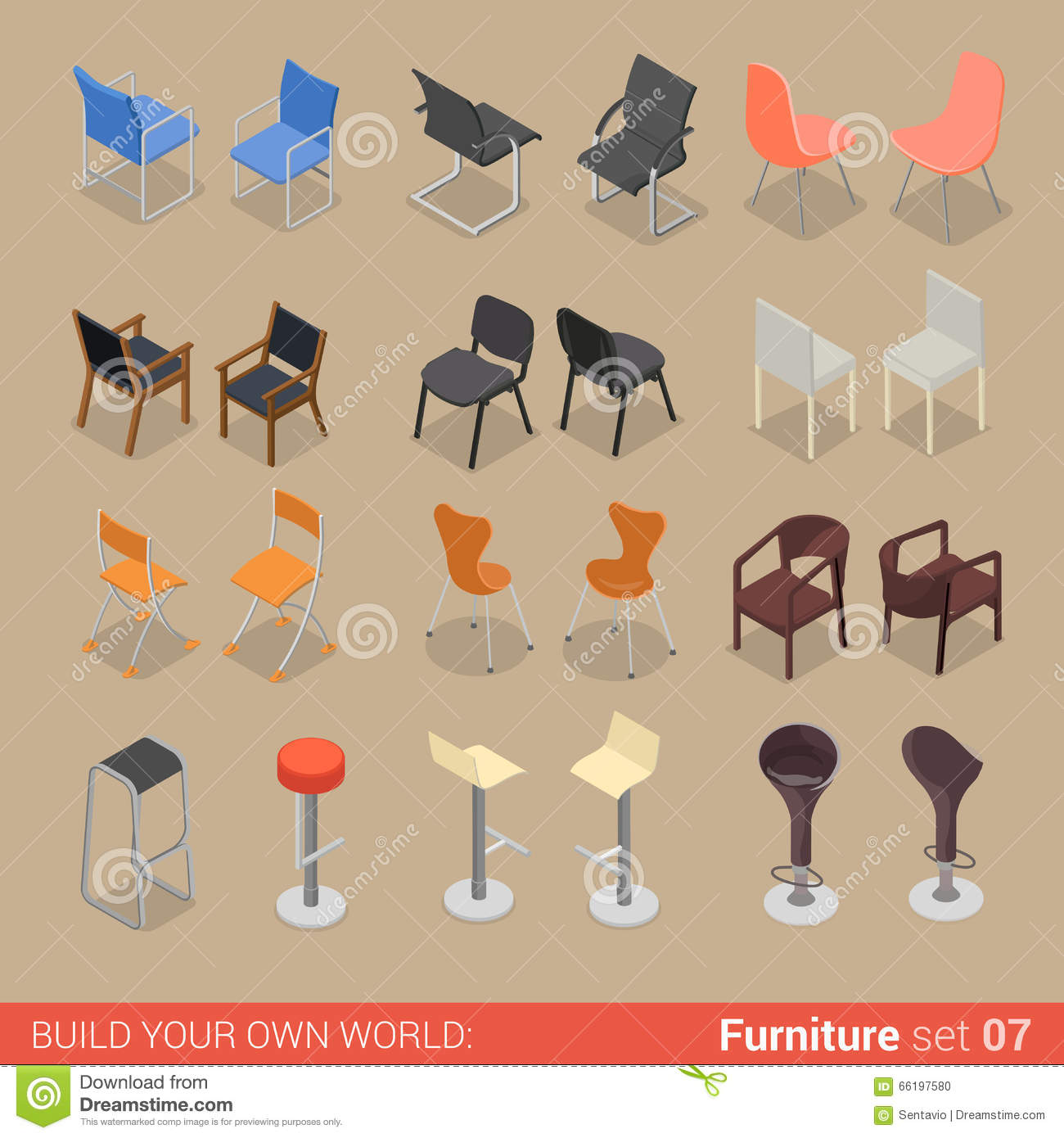 isometric office furniture vector collection. Home Bar Chair Seat Armchair Flat Vector Isometric Furniture Office Collection R