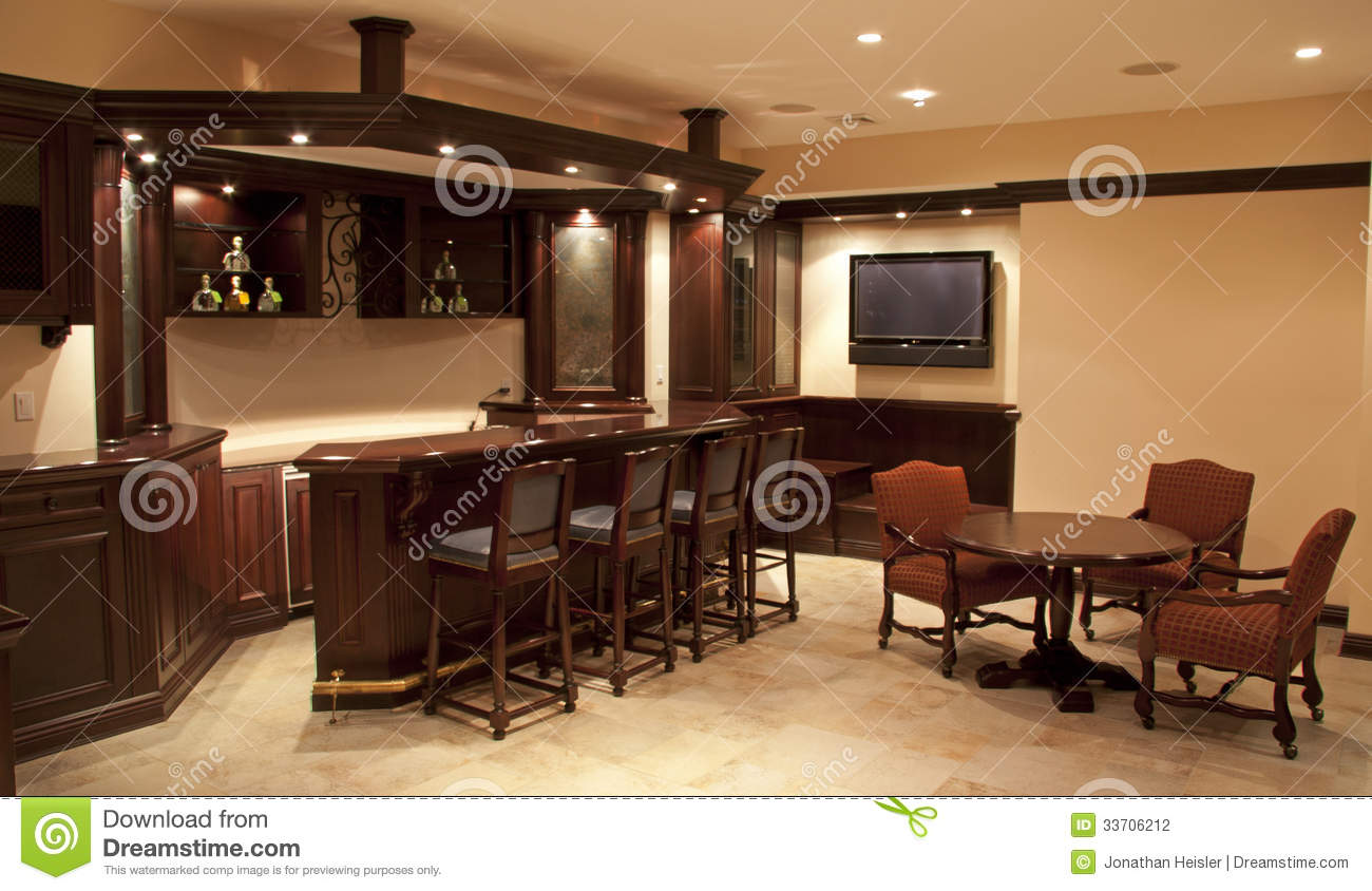 Home bar lounge stock photo image of custom library for Home lounge design