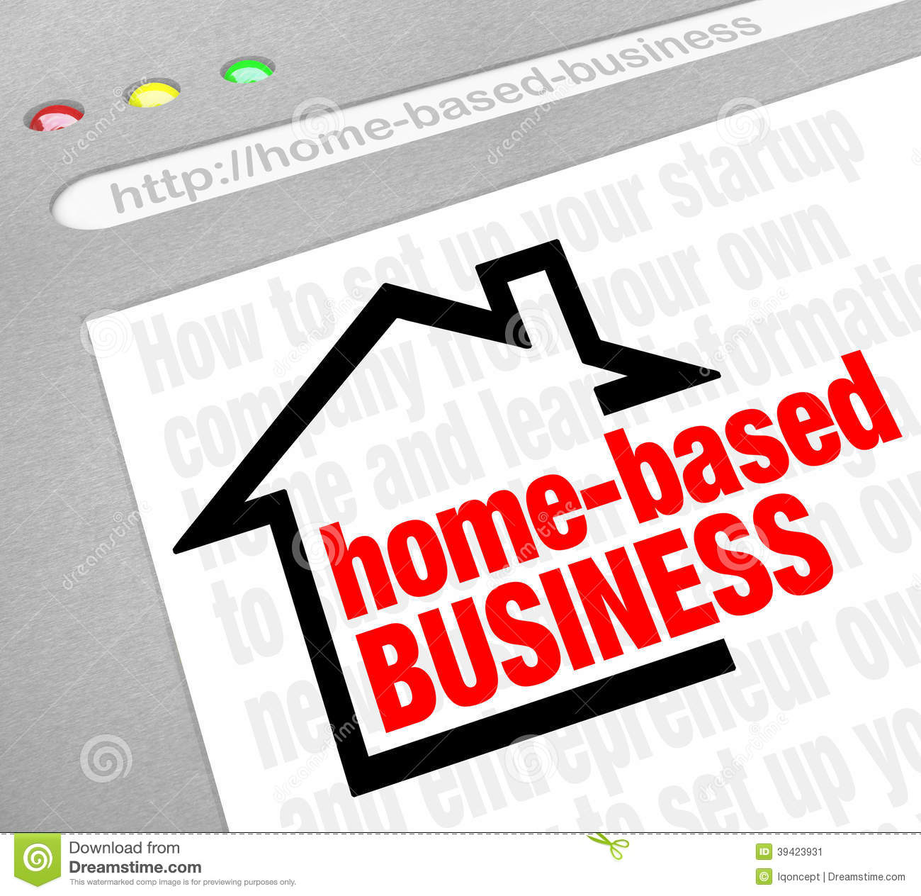 Home Based Business Advice Information Tips Online Website Inter Stock Illustration