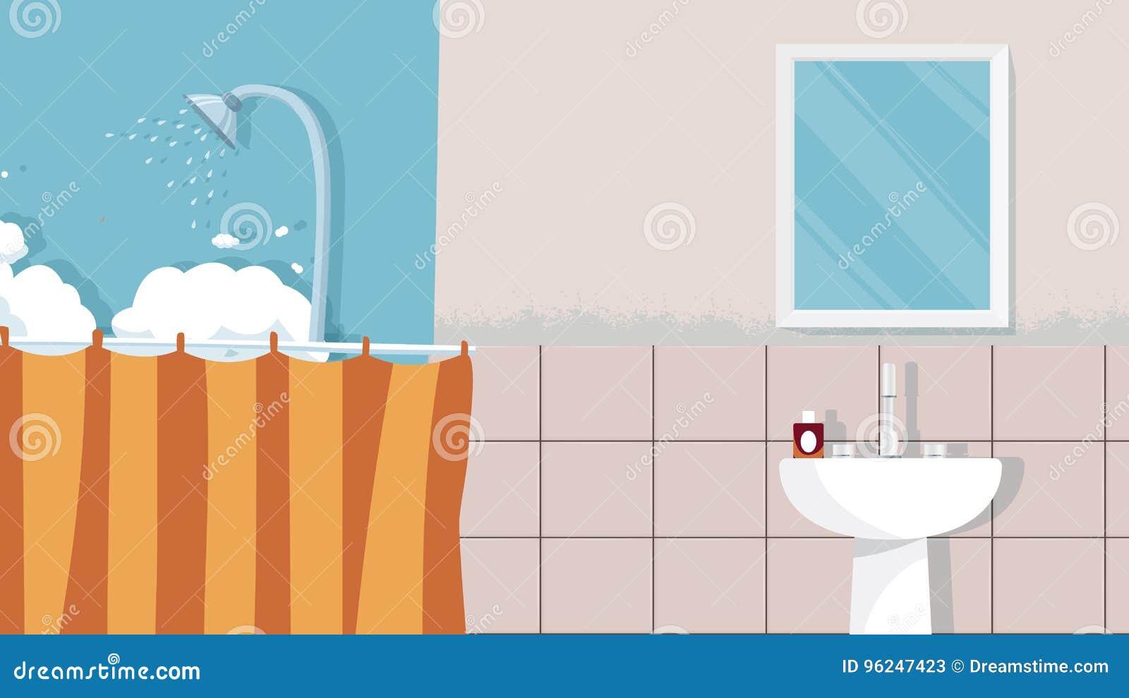 Home Bathroom Interior Background Vector For Cartoon Animation