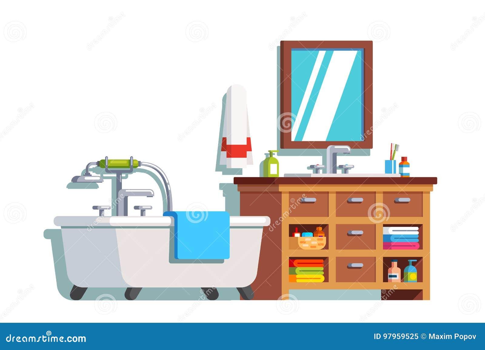 Home Bathroom Interior With Bath Sink Mirror Stock Vector Illustration Of Bath House 97959525