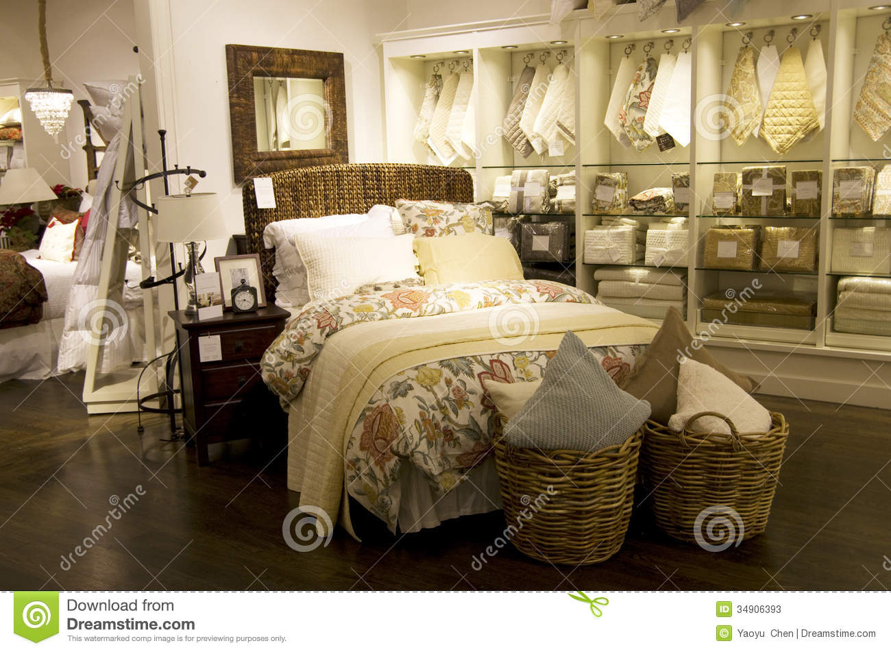 Home Bedroom Decor Furniture Store Stock Image - Image of blanket ...