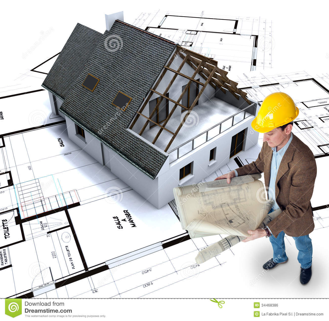 Home building stock photo image of architecture model for House construction plans