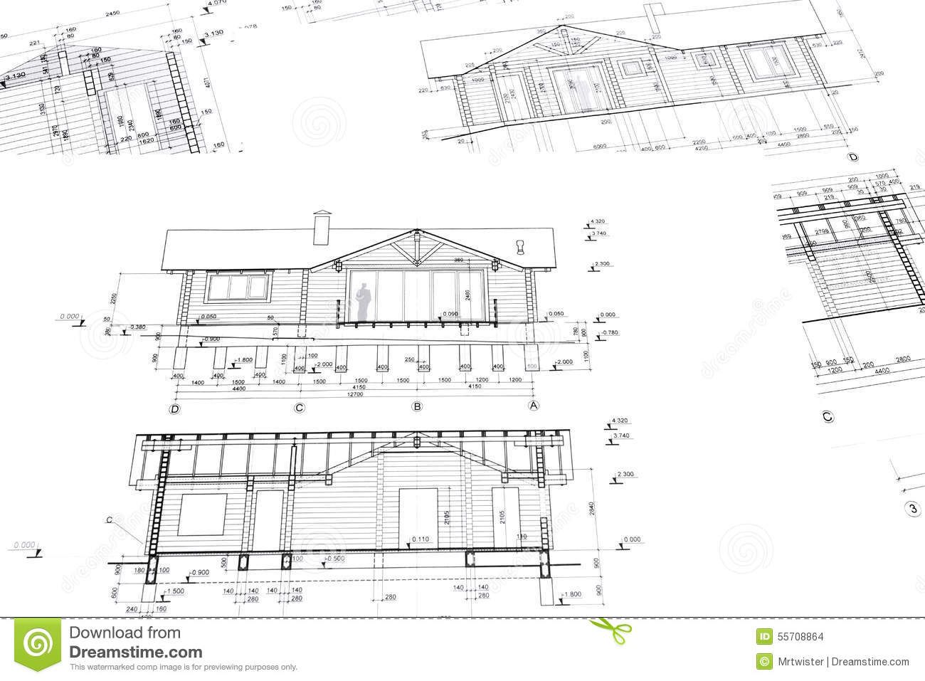 Home building construction plans stock photo image 55708864 for Stock house plans