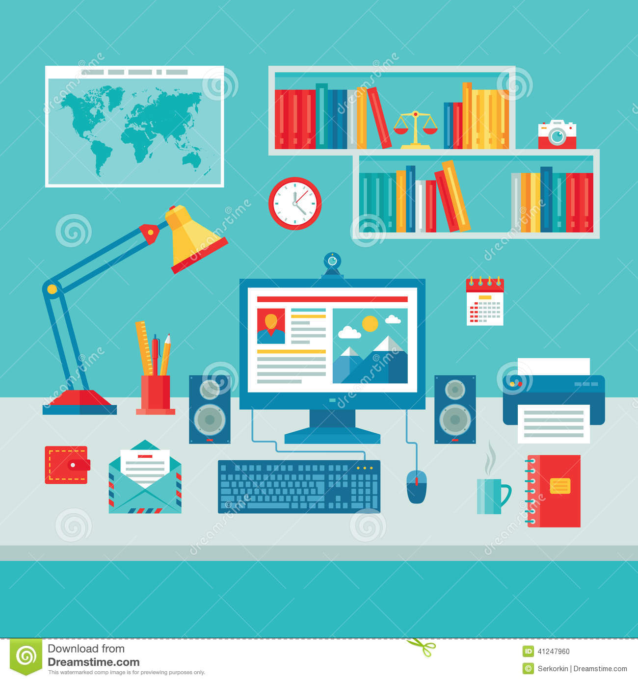 Kitchen Designers Online Home Business Office Workplace With Computer Monitor Stock