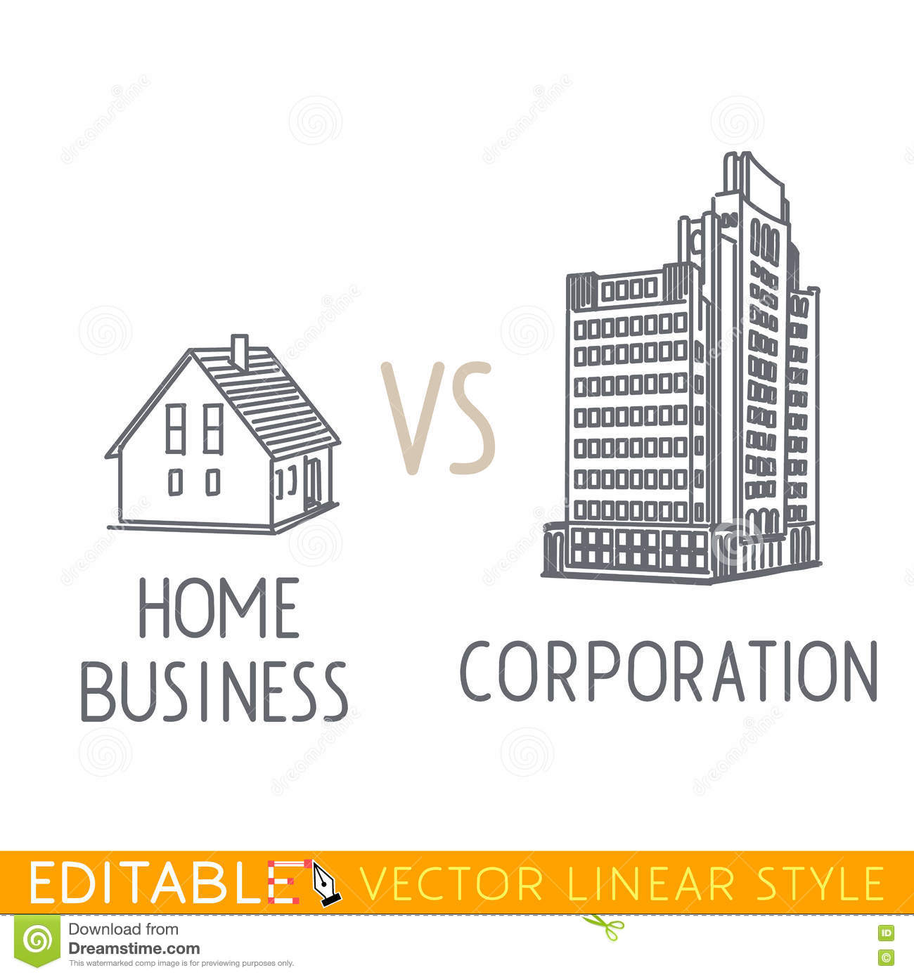 Home Business Vs Corporation. Buildings Small Company Big
