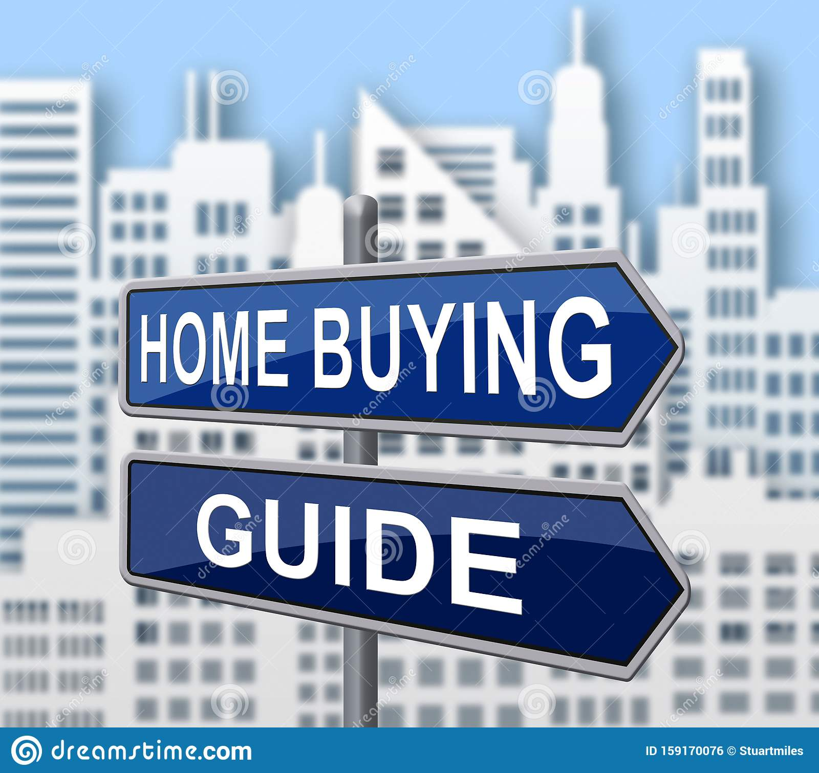 Home Buying Guide Sign Depicts Evaluation Of Buying Real ...