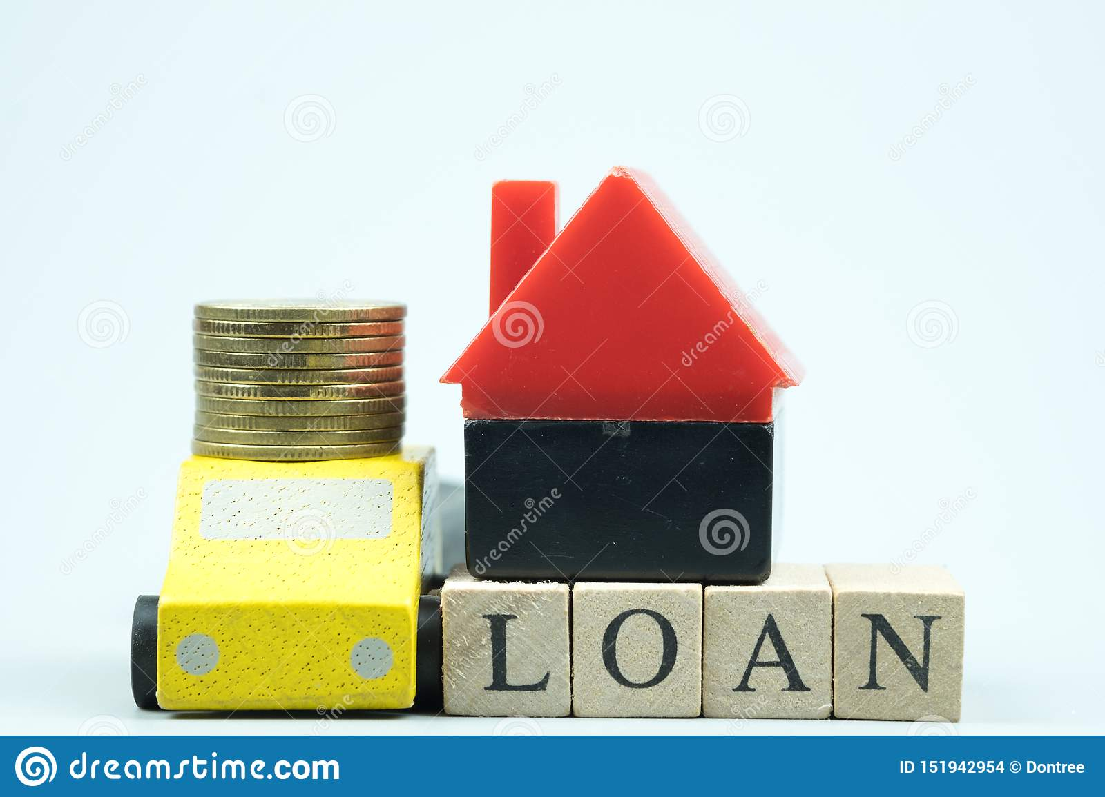 Home and car loan of living for investment real estate concept