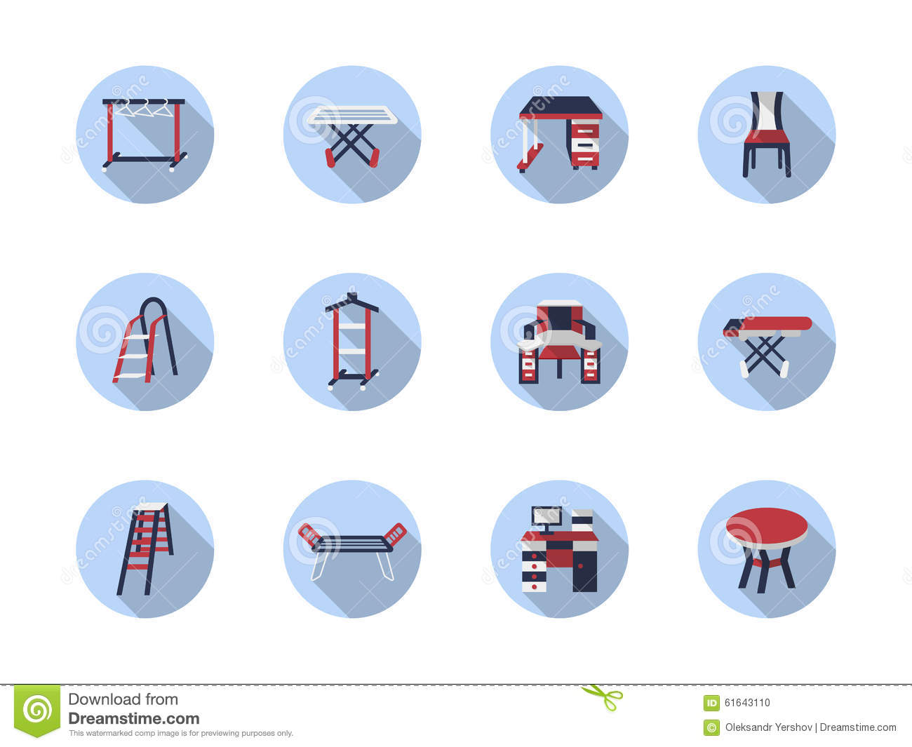 Home care flat round icons. Home Care Flat Round Icons Stock Illustration   Image  61643110