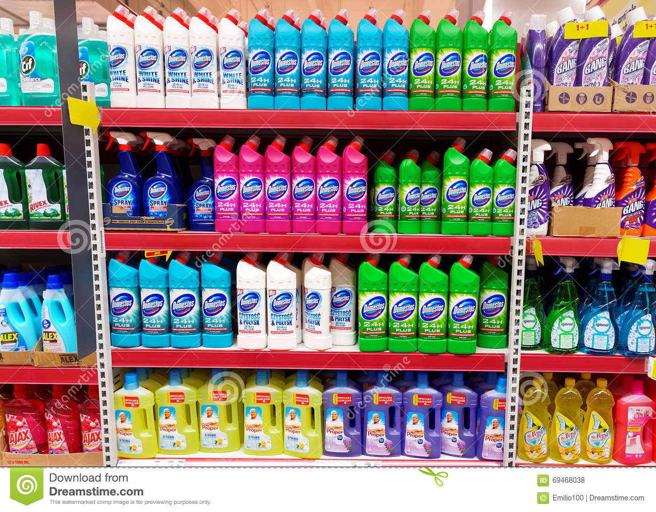 home cleaning products shelf in a supermarket editorial. Black Bedroom Furniture Sets. Home Design Ideas