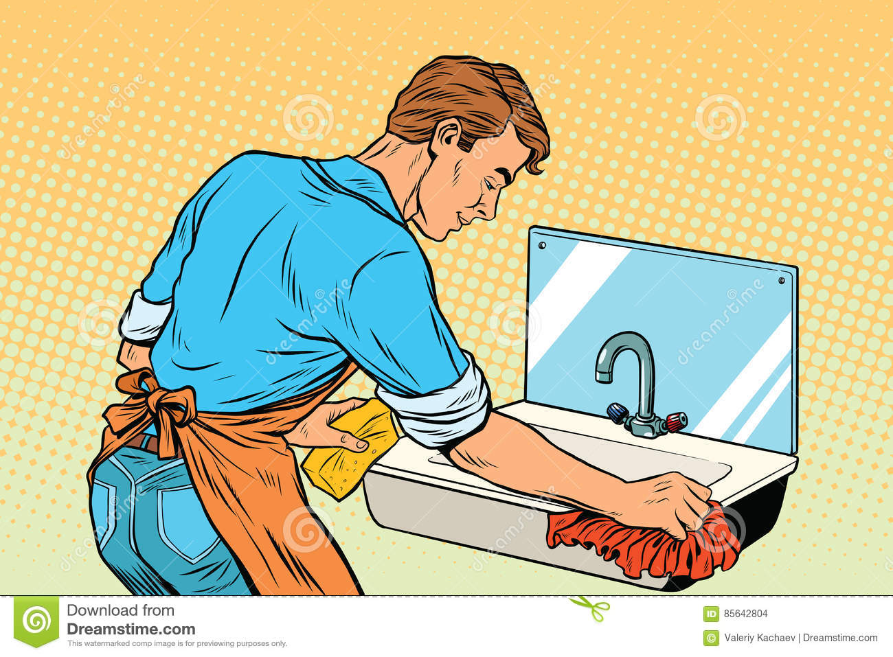 Home Cleaning Washing Kitchen Sinks, Man Works Stock Vector ...