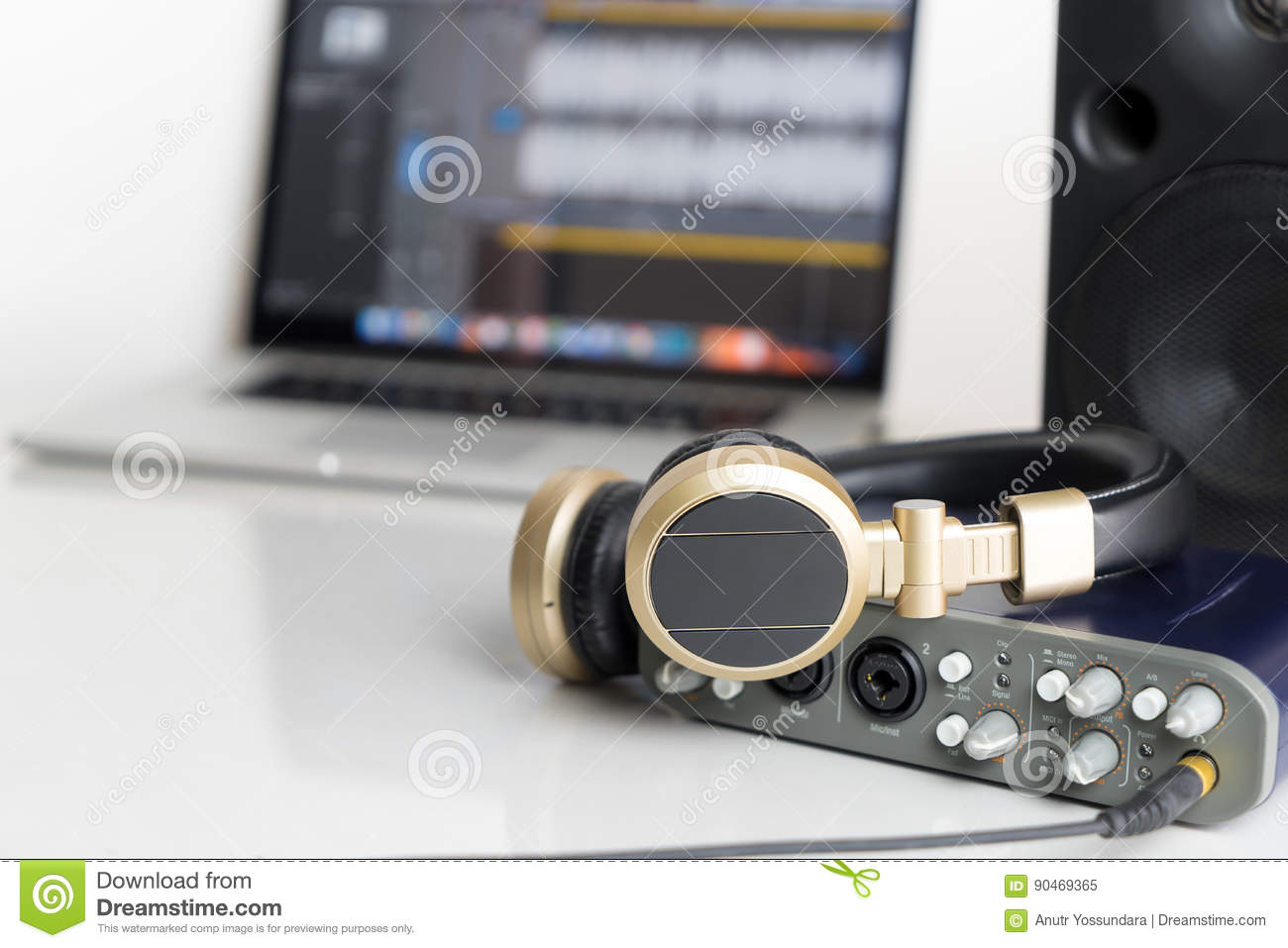 Download Home Computer Music Studio On Table Stock Image   Image Of  Software, Professional: