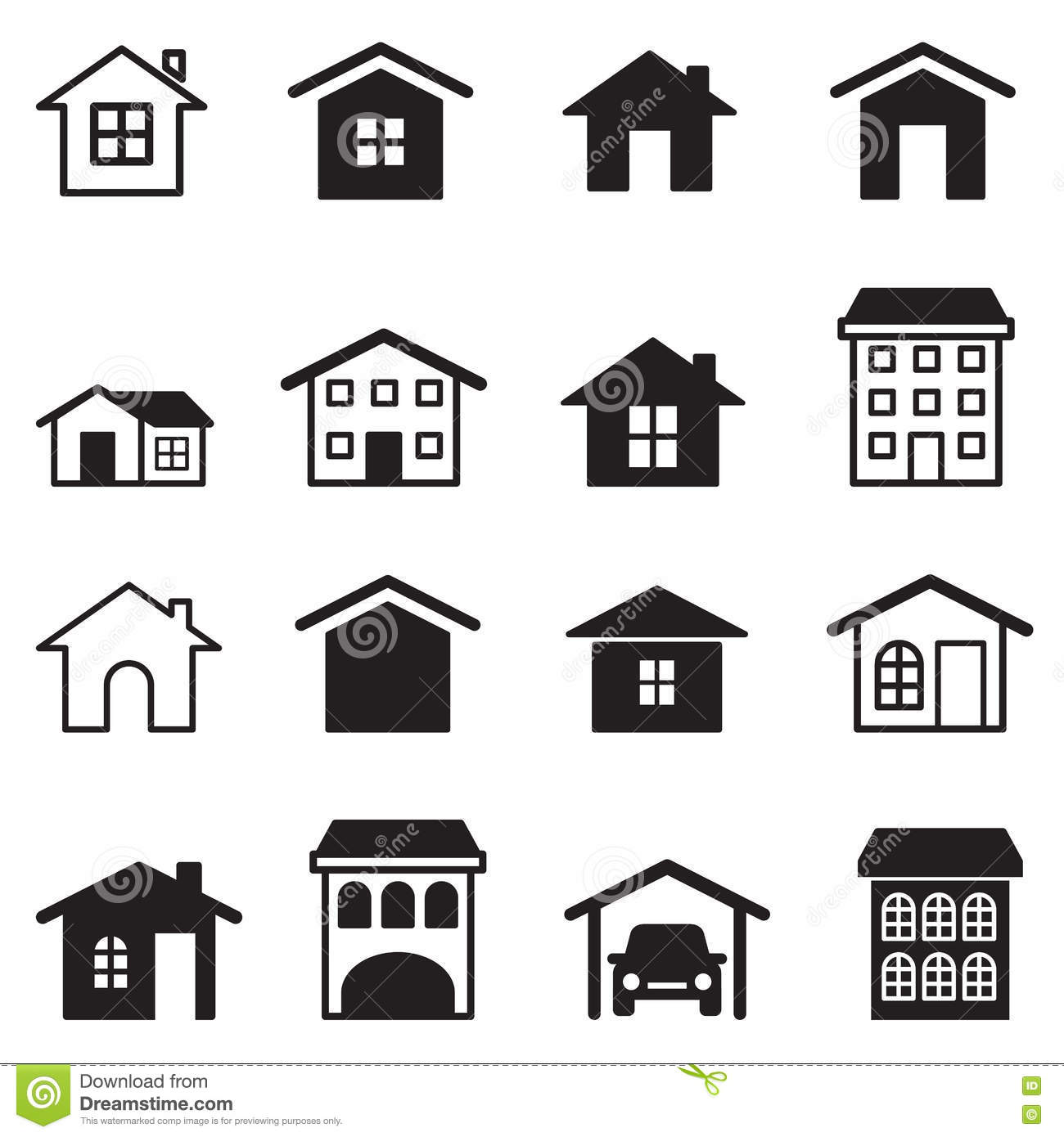 Home condominium tower apartment icons set stock vector for Apartment design vector