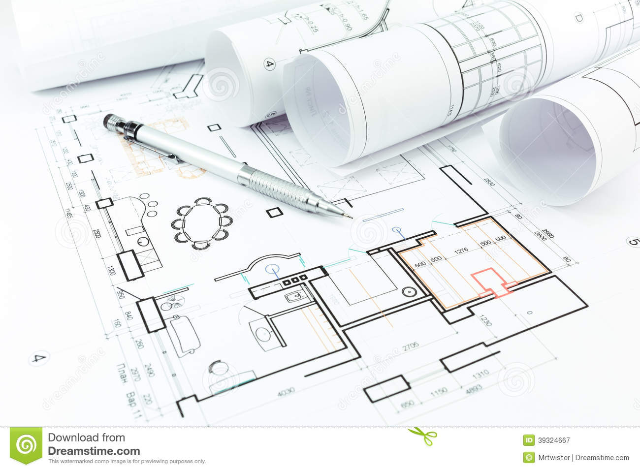 Home construction plans and pencil stock image image for Home construction plans
