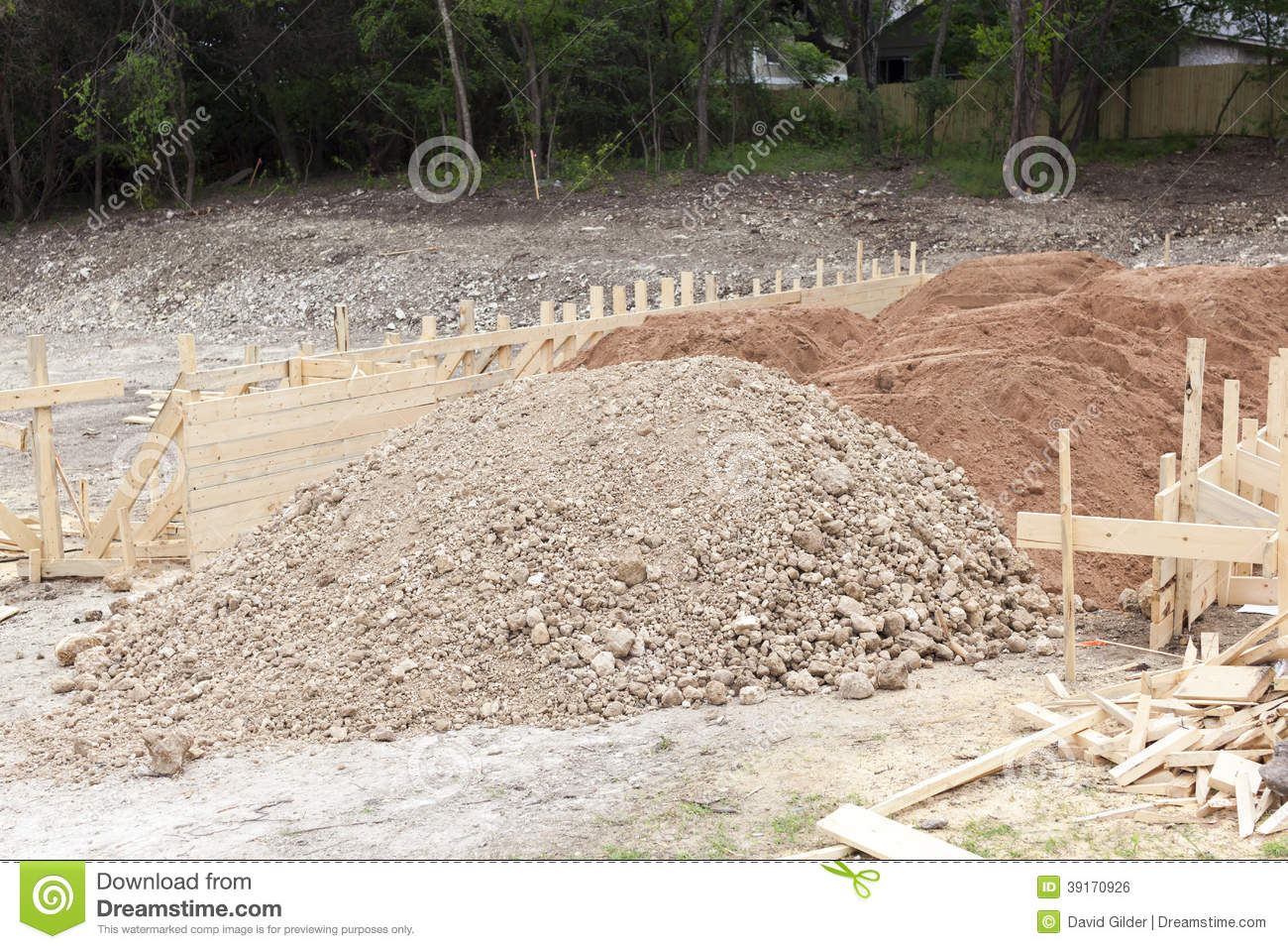 Home construction post tensioned foundation stock photo for Wood piling foundation cost