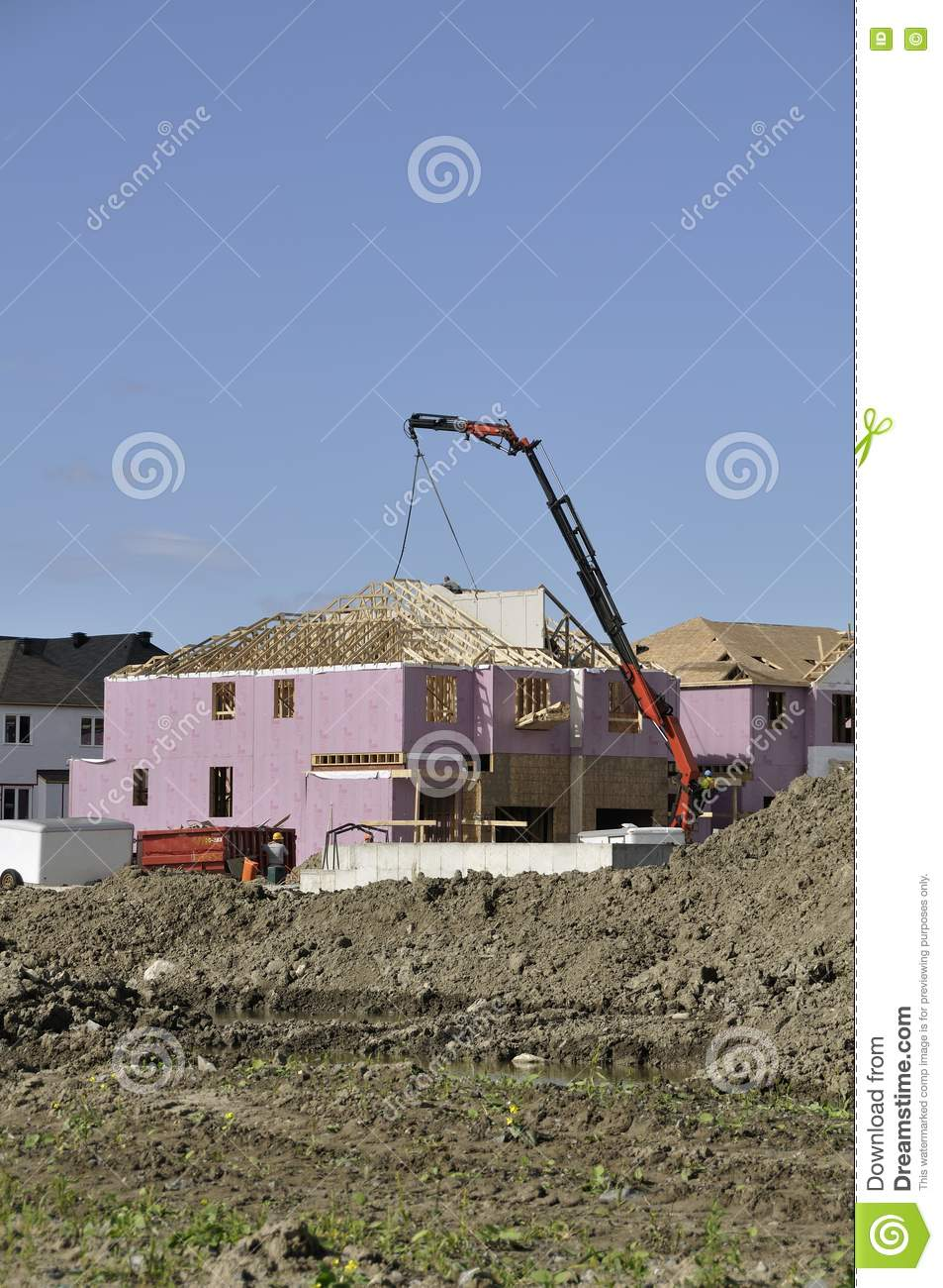 Home construction site with crane stock photos image for Home construction websites
