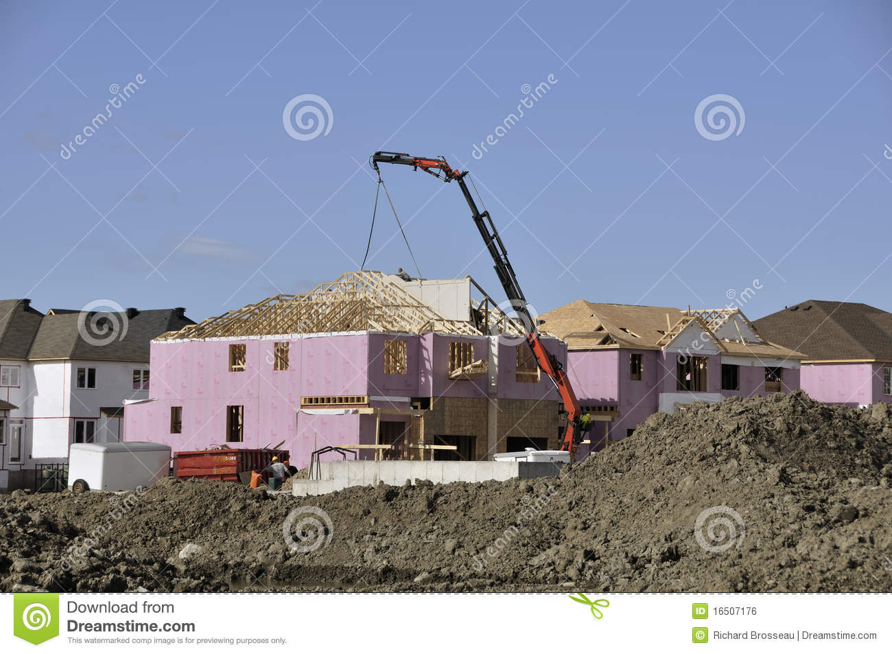 Home Construction Site With Crane Royalty Free Stock Image