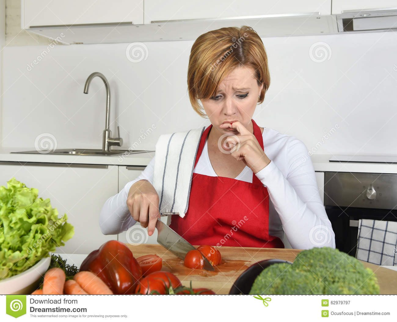 Home Cook Woman In Red Apron Slicing Carrot With Kitchen ...
