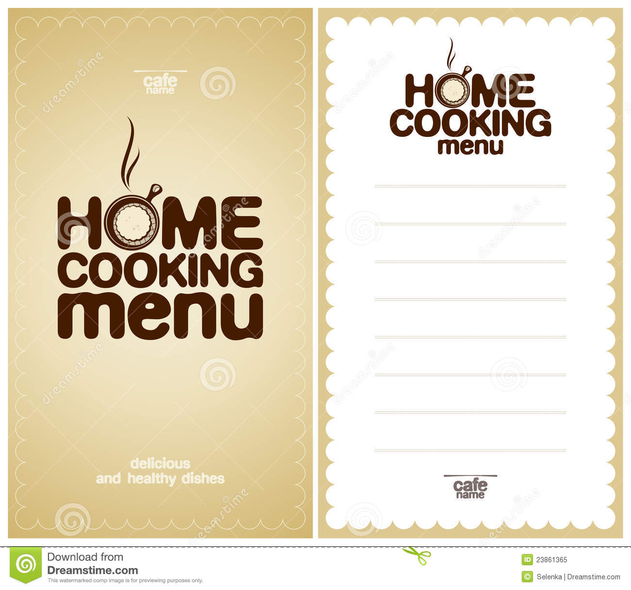 home cooking menu design template royalty free stock photo