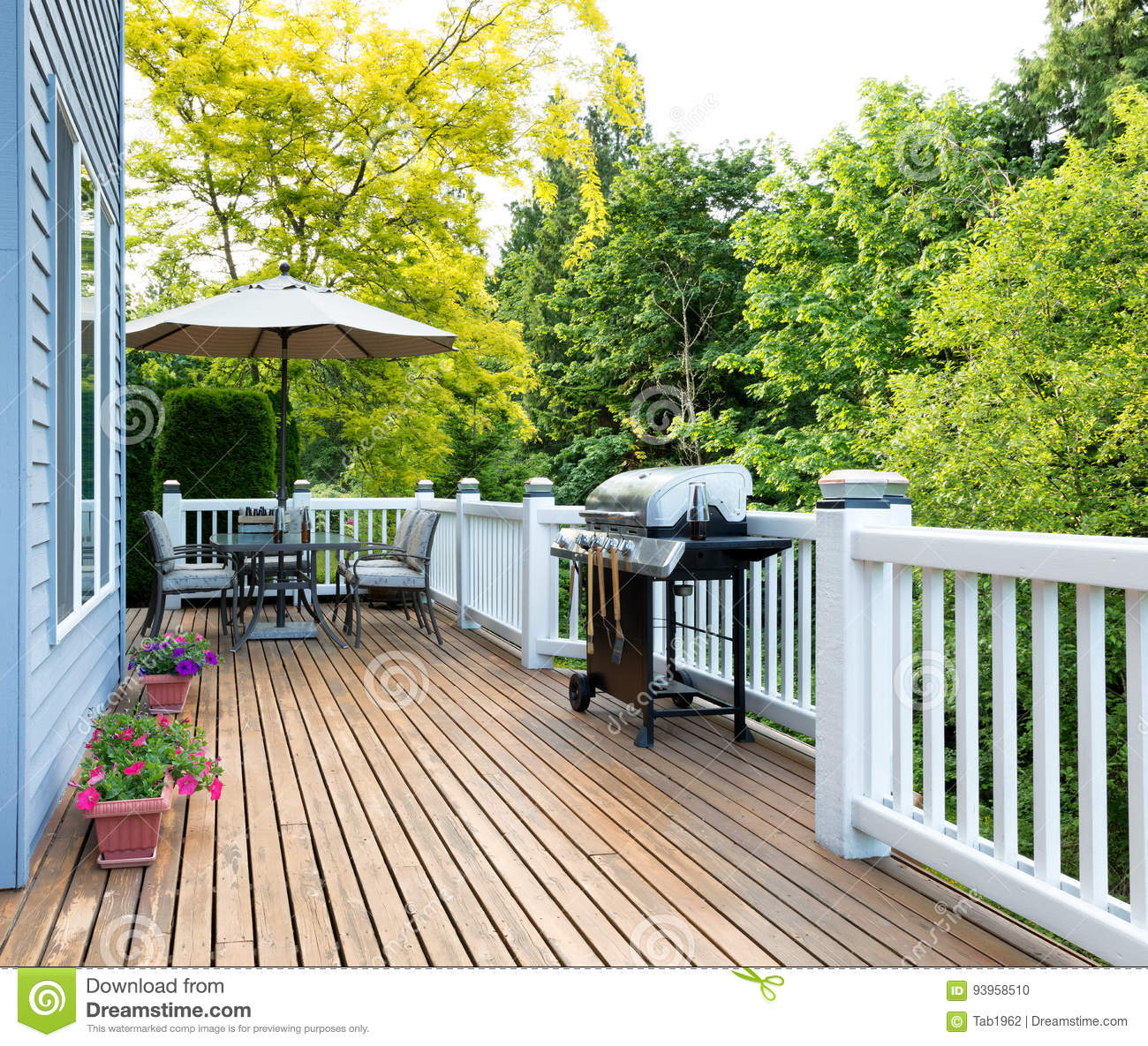 Home Deck And Patio With Outdoor Furniture And Bbq Cooker With B Stock Photo Image Of Residential Food 93958510