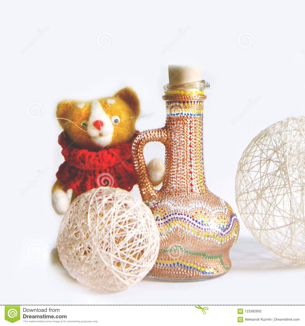 Home Decor Bottles And Baby Bear Doll Isolated On White Background