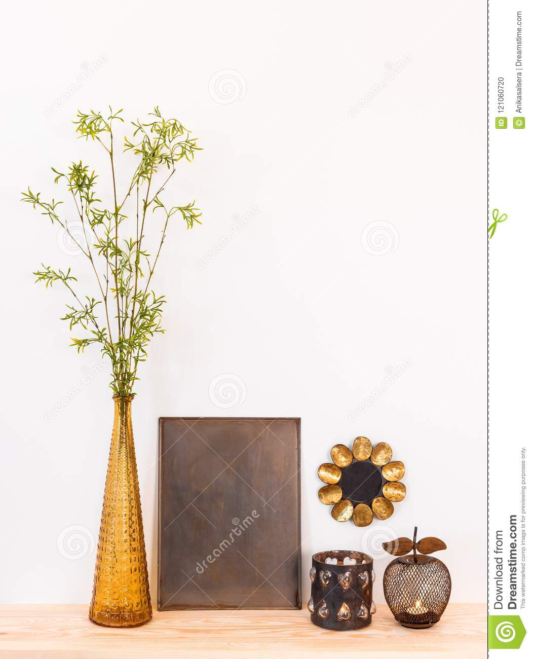 Home Decor Composition With Tree Branches And Metal Objects Stock