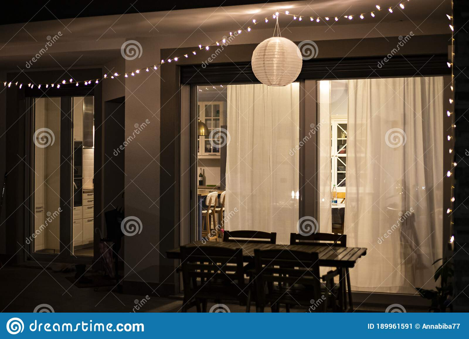 Home Decor Idea With String Lights And Globe Lantern Hanging In The Front Porch In The Outdoor Dining Area Stock Image Image Of Lantern Inspiration 189961591