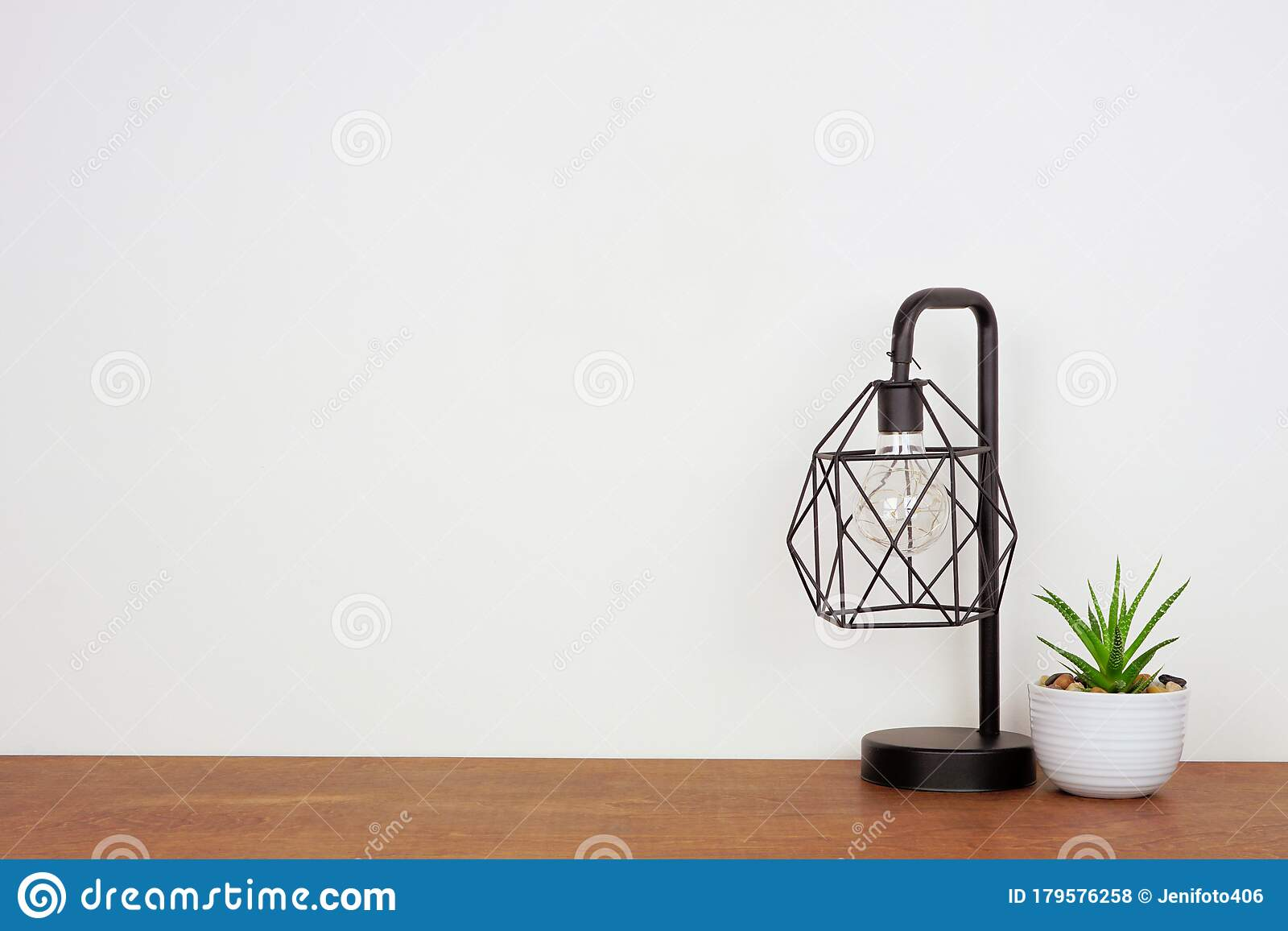 Lamp And Succulent Plant Home Decor On A Wood Shelf Against A White Wall With Copy Space Stock Photo Image Of House Design 179576258