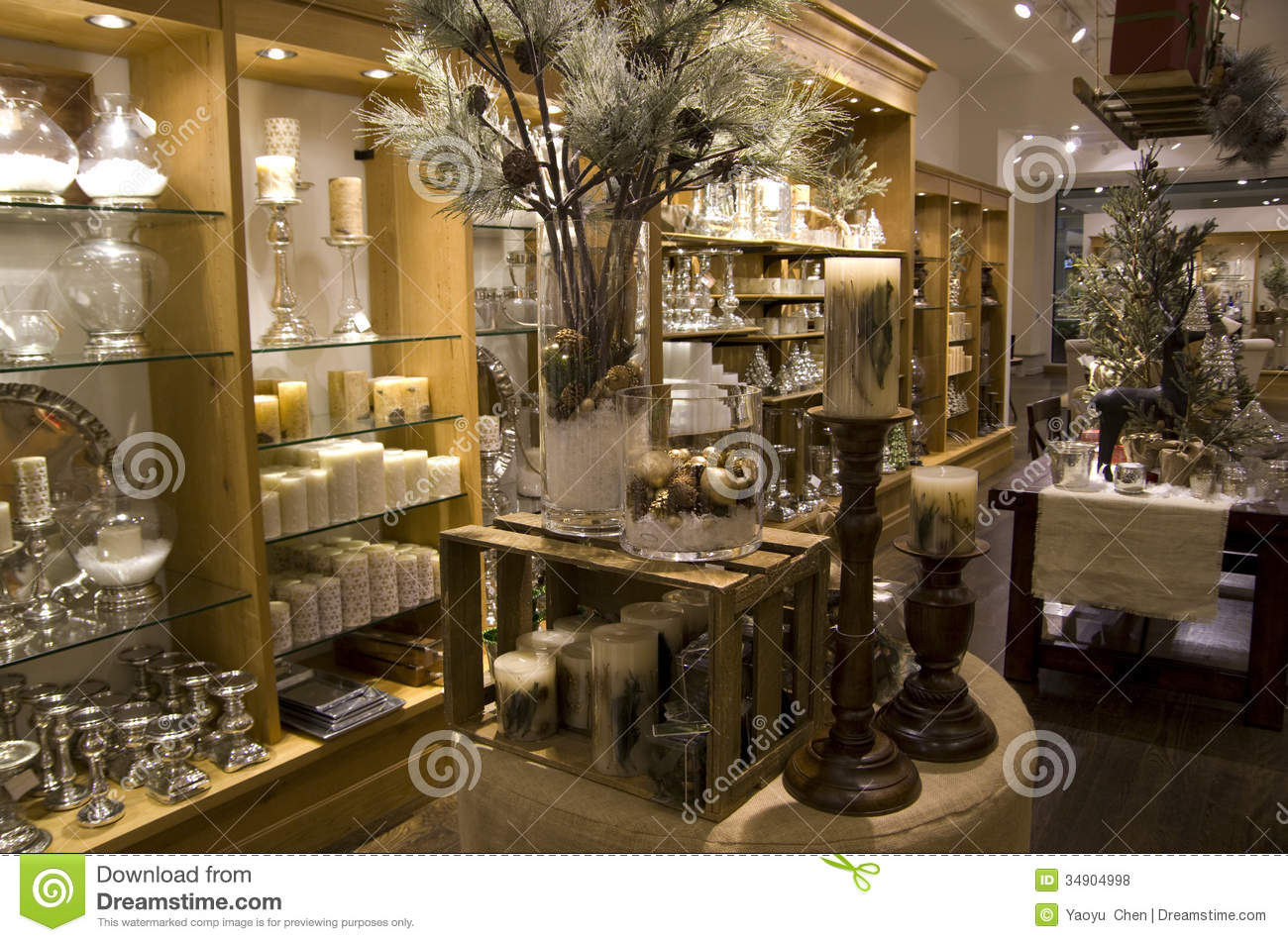 Home decor store stock photo image of lighting shelves for House accessories stores