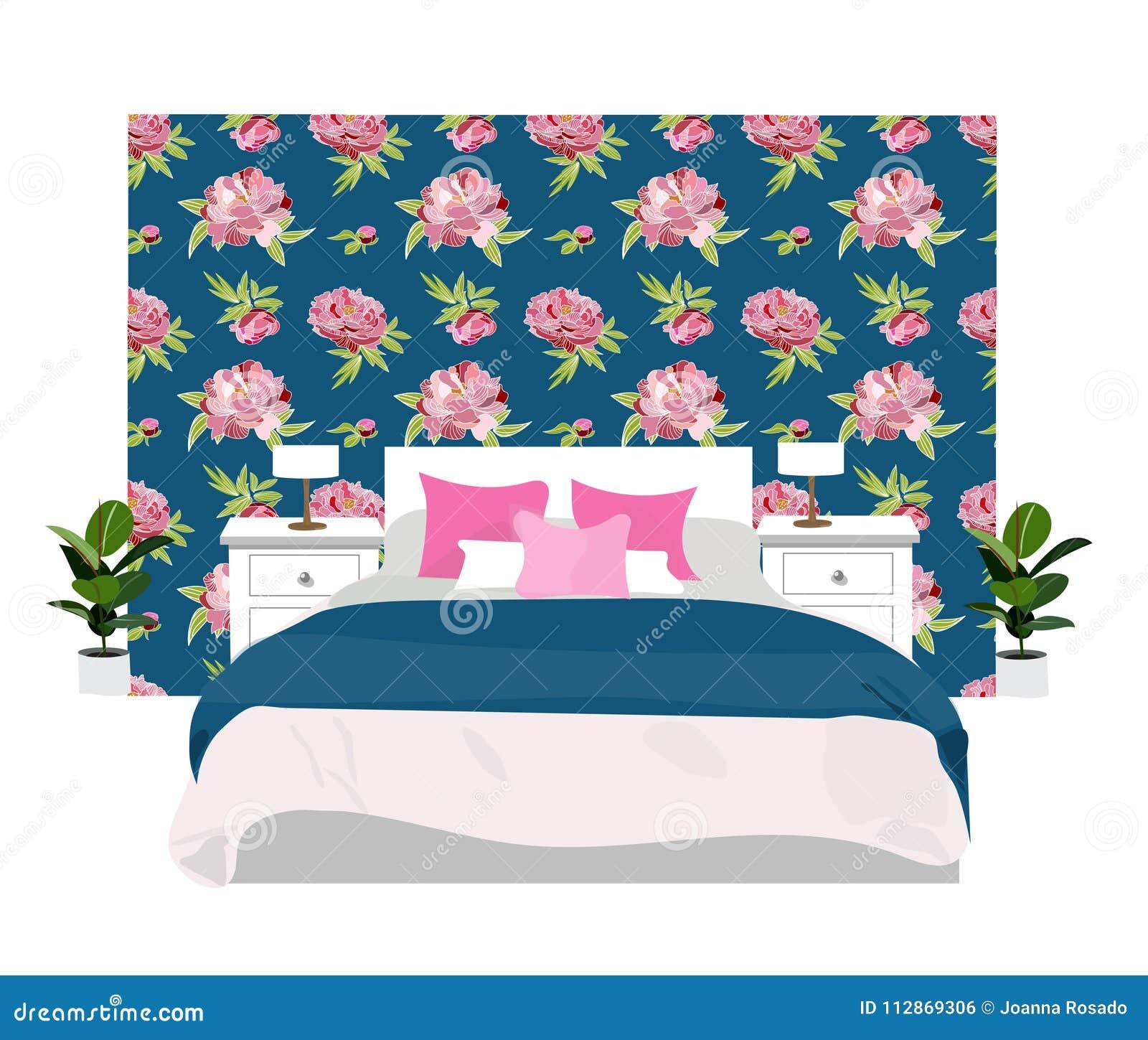 Home Decor Vector Elements Set Collection. Bedroom Interior Design ...