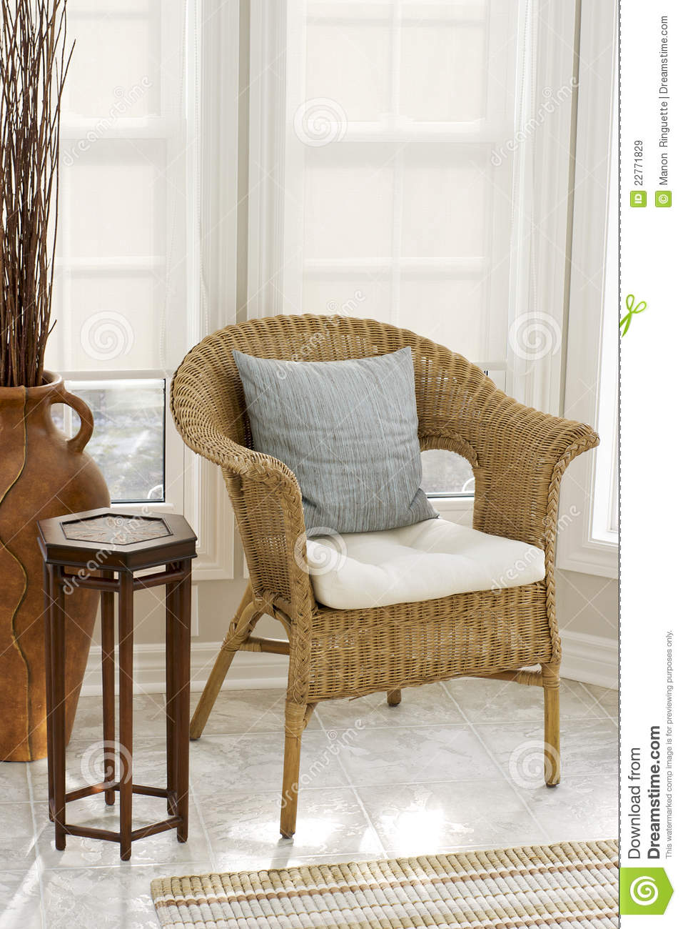 Home Decor Wicker Chair In Sun Room Royalty Free Stock